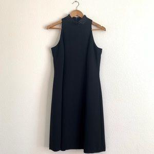 Jones New York black mockneck sequin dress LBD 12P